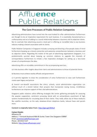 The Core Processes of Public Relation Companies