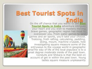 Best Tourist Spots in India
