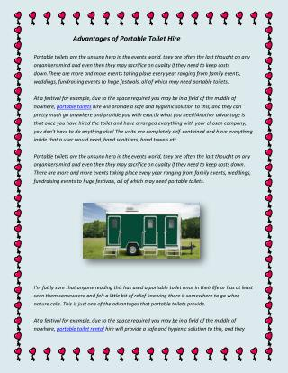 Advantages of Portable Toilet Hire