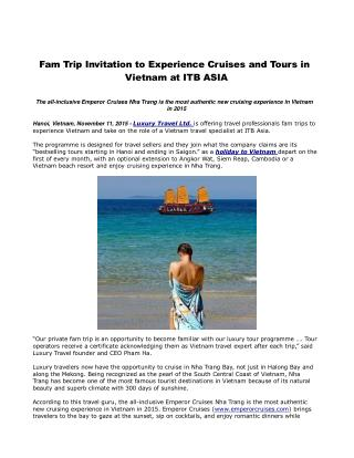 Fam Trip Invitation to Experience Cruises and Tours in Vietnam at ITB ASIA