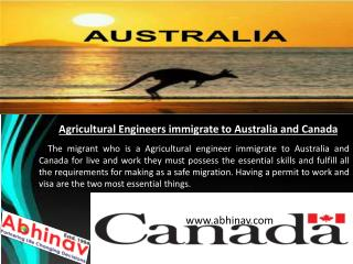 Agricultural Engineers immigrate to Australia and Canada
