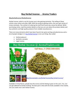 Buy Herbal Incense at aromatraders.com