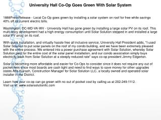 University Hall Co-Op Goes Green With Solar System