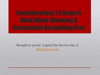 Considerations To Keep In Mind When Choosing A Sacramento Accounting Firm