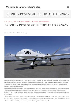 Drones – Pose Serious Threat to Privacy