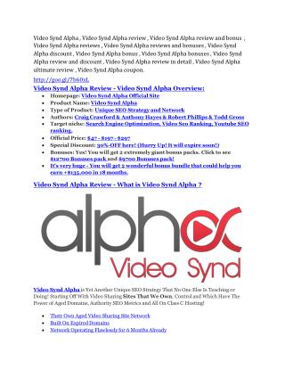 Video Synd Alpha review in detail and (FREE) $21400 bonus