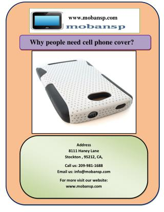 Why people need cell phone cover?