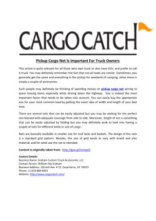 Pickup Cargo Net Is Important For Truck Owners