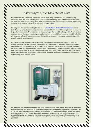 Heads Above The Rest Portable Toilets