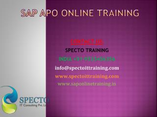 Sap apo online training in uk