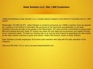 Solar Solution LLC, Hits 1,000 Customers