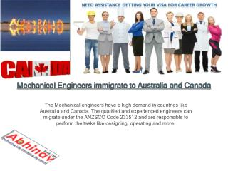 Mechanical Engineers immigrate to Australia and Canada