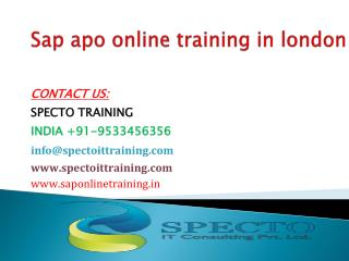 Sap apo online training in london