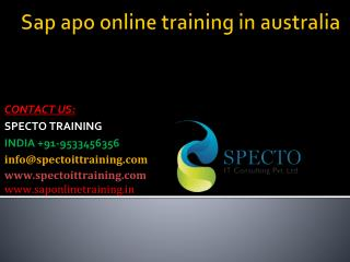 Sap apo online training in australia
