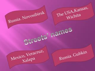 Streets  names