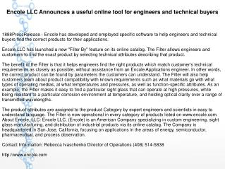 Encole LLC Announces a useful online tool for engineers and technical buyers