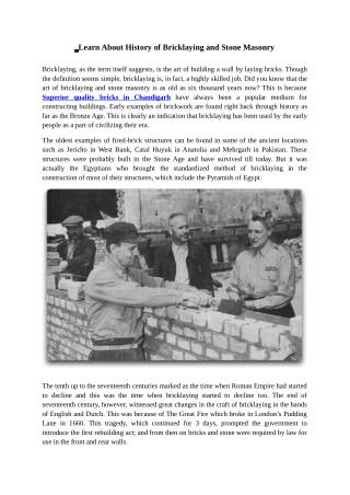 Learn About History of Bricklaying and Stone Masonry