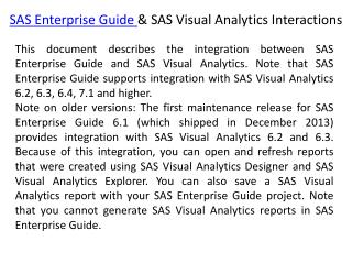 Integrate Stored Processes from SAS Enterprise Guide into SAS Visual Analytics reports
