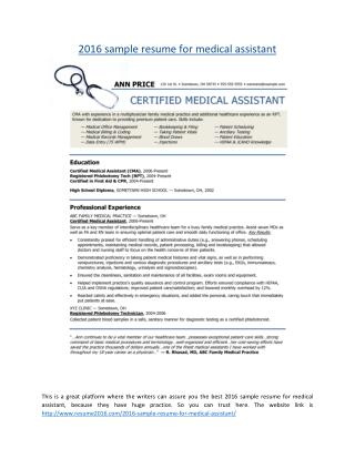 2016 sample resume for medical assistant