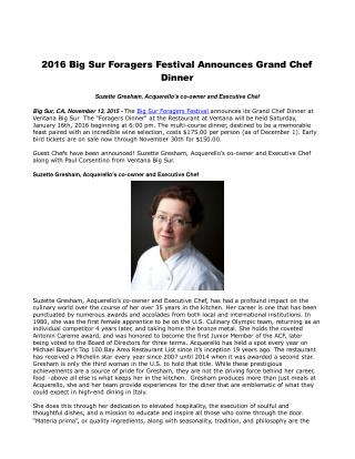 2016 Big Sur Foragers Festival Announces Grand Chef Dinner