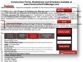 Construction Forms, Breakdowns and Schedules Available at www.ConstructionProManager.com
