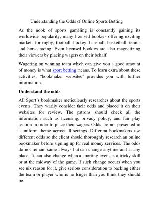 Understanding the odds of online sports betting