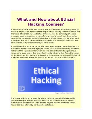 What and How about Ethcial Hacking Courses?
