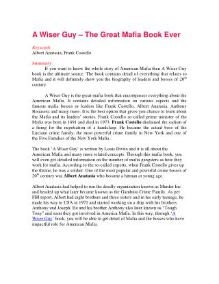 A Wiser Guy – The Great Mafia Book Ever