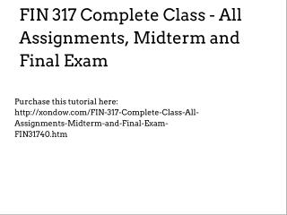 FIN 317 Complete Class - All Assignments, Midterm and Final Exam
