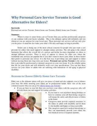 Why Personal Care Service Toronto is Good Alternative for Elders?