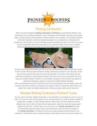 Roofing Contractor Portland