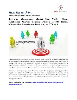 Password Management Market Size, Market Share, Application Analysis, Regional Outlook, Growth Trends, Competitive Scenar