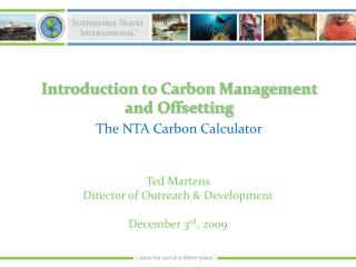 Introduction to Carbon Management and Offsetting The NTA Carbon Calculator