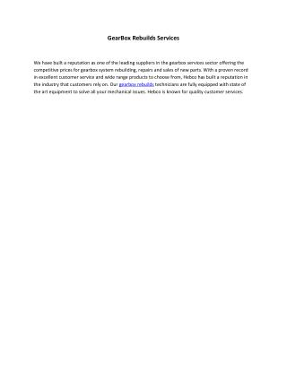 GearBox Rebuilds Services Australia