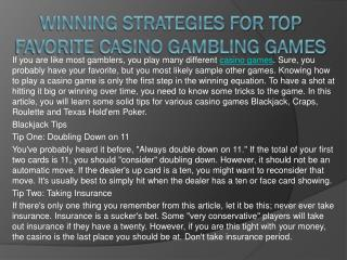 Winning Strategies for Top Favorite Casino Gambling Games