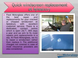 Quick windscreen replacement at Aylesbury