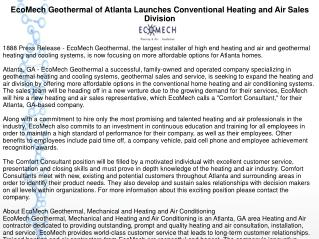 EcoMech Geothermal of Atlanta Launches Conventional Heating and Air Sales Division