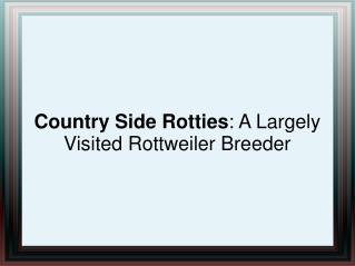 Country Side Rotties: A Largely Visited Rottweiler Breeder