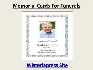 Memorial Cards for Funerals By Wisteriapress Site