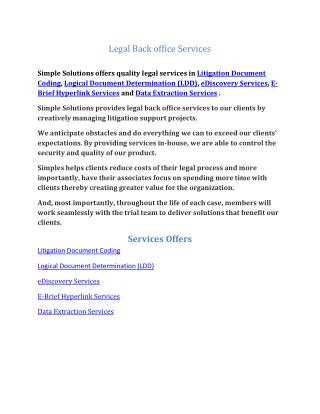 Legal Back office Services