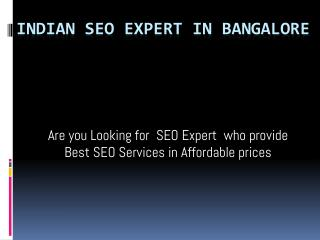 SEO Expert in Bangalore