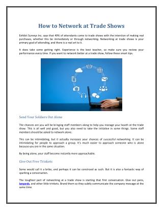 How to Network at Trade Shows