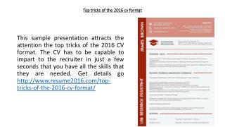 Top tricks of the 2016 cv format