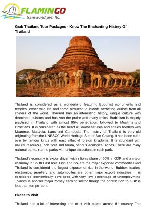 Grab Thailand Tour Packages - Know The Enchanting History Of Thailand