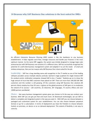 10 Reasons why SAP Business One solutions is the best suited for SMEs