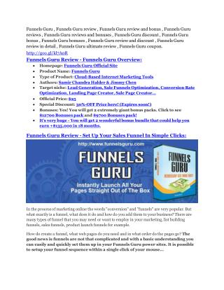 Funnels Guru Review - 80% Discount and $26,800 Bonus