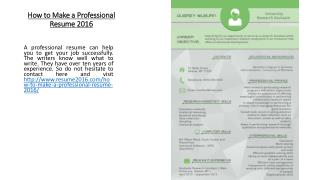 How to Make a Professional Resume 2016