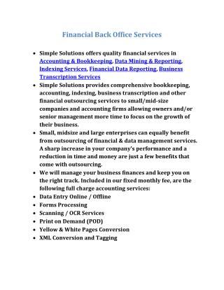 Financial Back office Services