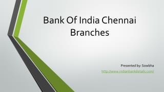 Bank of india IFSC code chennai