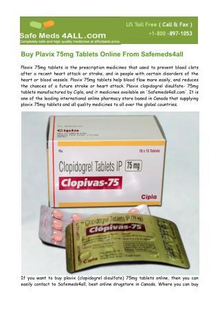 Buy Plavix- Clopidogrel Bisulfate 75mg Tablets Online